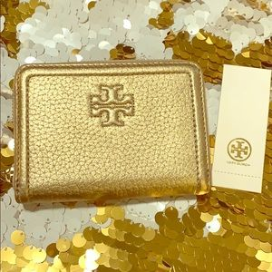 Tory Burch gold leather small wallet
